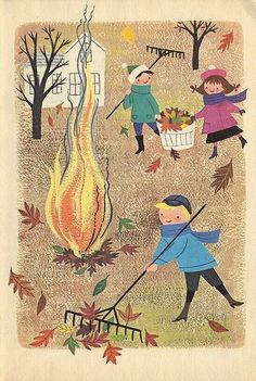 Alice Martin Provensen raking leaves illustration