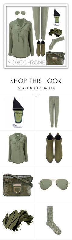 """""""Head to Toe"""" by patricia-dimmick ❤ liked on Polyvore featuring GUiSHEM, Closed, Equipment, Givenchy, Ray-Ban, Bobbi Brown Cosmetics, Form & Thread, monochrome and odgreen"""