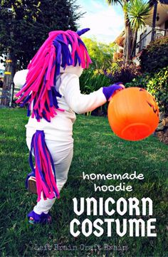This adorable unicorn costume made out of a hoodie is perfect for Halloween or My Little Pony parties.