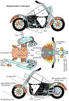 Harley Davidson- Paper Cutouts by PaperToys.com