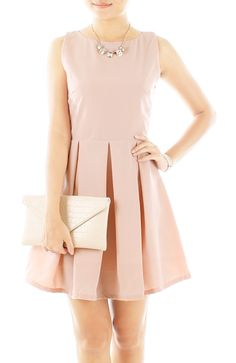 Prom Princess Flare Dress in Innocent Pink