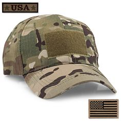 fc5bf534 STEVEN G Tactical Military Hat Adjustable Baseball Cap 6 Vent Holes USA  Flag for Hunting Fishing