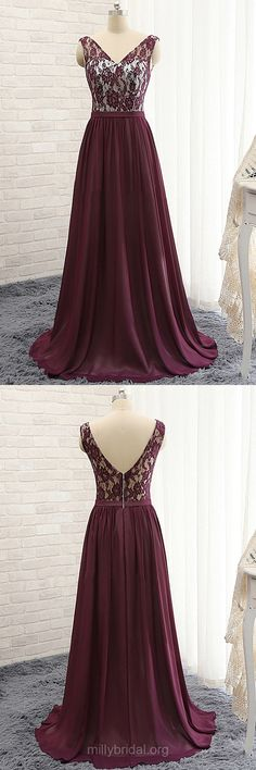Popular Purple Prom Dresses, V-neck Chiffon Formal Dresses, Lace Long Prom Dresses, Vintage Evening Party Dresses