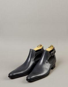Chaussure bottine/boots homme cuir gris