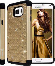 Galaxy Note 5 Case, Style4U Galaxy Note 5 Studded Rhinestone Crystal Bling Hybrid Armor Case Cover for Samsung Galaxy Note 5 with 1 Style4U Stylus [Gold / Black]