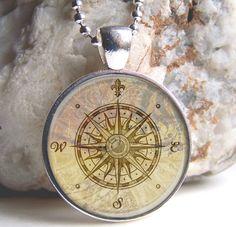 Vintage Rose Compass Art Pendant