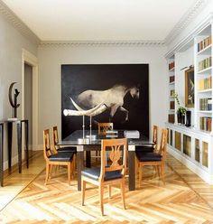 dining room_modern traditional herringbone floors horse art built in bookshelves_Nuevo Estilo magazine via La Dolce Vita mar09