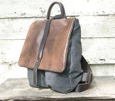 Sac à dos sac à dos sac à dos de toile avec cuir pack par RuthKraus