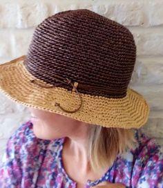 bc560ffe223e0 Raffia hat   Fedora medium brim   Sun hat for women   Packable hat    Adjustable hat   Brown Beige   Straw raffia
