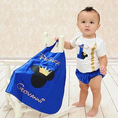 Mickey Prince Personalized First Birthday Outfit Boy Prince First Birthday Outfits Boy, Birthday Themes For Boys, Baby Boy First Birthday, Blue Birthday, Mickey Birthday, Cake Smash Outfit Boy, Prince Birthday Party, Prince Costume, Royal Blue And Gold