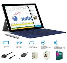 """2014 Newest Microsoft Surface Pro 3 Core i3-4020Y 4G 64GB 12"""" touch screen with 2160x1440 Half 4K (2K) QHD Windows 8.1 Pro Multi-position Kickstand. Meet Surface Pro 3, the tablet that can replace your laptop. Wrapped in magnesium and loaded with a 12-inch ClearType Half 4K 2K 2560x1440 QHD display, 4th-generation Intel Core processor and up to 8GB of RAM in a sleek frame - just 0.36 inches thin and 1.76 pounds - with up to nine hours of Web-browsing battery life, Surface Pro 3 has all…"""