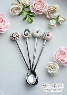 :: Crafty :: Clay :: Bakery :: Sweet Spoon by Anna Pokk Cute Polymer Clay, Cute Clay, Polymer Clay Miniatures, Fimo Clay, Polymer Clay Projects, Polymer Clay Charms, Polymer Clay Jewelry, Clay Crafts, Clay Jar