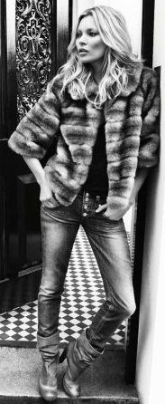 Kate Moss fur and jeans