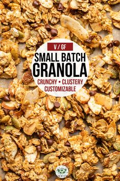 This small batch granola is perfect for a quick breakfast or snack! Made from healthy and customizable ingredients and can even be baked in toaster oven. #granola #smallbatch #vegangranola #healthygranola #glutenfree | frommybowl.com