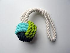 Aqua, Citron & Dark Teal Monkey's Fist Knot - Medium via Etsy Made By Cassandra Smith Monkey's Fist, Monkey Fist Knot, Dark Teal, Cotton Rope, White Nails, Small Groups, Color Mixing, Jewelry Art, Knots