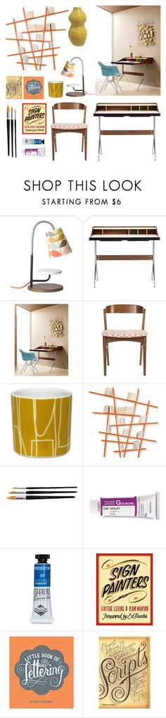 """practicing lettering at my desk"" by at-home ❤ liked on Polyvore featuring interior, interiors, interior design, home, home decor, interior decorating, Orla Kiely, George Nelson, Compagnie and Kri Kri Studio"