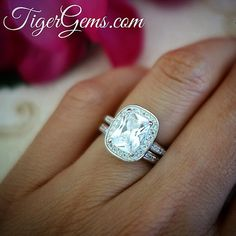 The 2.25 carat radiant cut set is also available in 1.25 ct and 4.25 ct at TigerGems.com  #handmade #birthdaygirl #ring #dreamring #gatsby #bridetobe #diamondring #manmadediamond #proposal #engagementring #kendalljenner #fitmom #healthyeating #bride #anniversary #ido #girlsnight #nails #weddingdress #datenight #quoteoftheday #engagement #makeup #wedding #bling #bridal #california #rings #tigergemstones