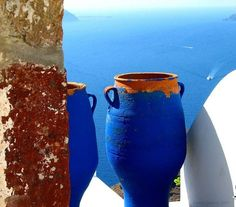 Bright Moroccan Blue Mykonos, Santorini Greece, Santorini Island, Vases, Terracotta Plant Pots, Greece Islands, Blue Pottery, Beautiful Places To Visit, Greece Travel