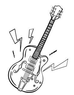 Printable guitar coloring page. Free PDF download at http://coloringcafe.com/coloring-pages/guitar/