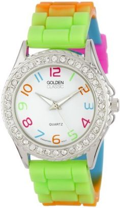 """Golden Classic Women's 2297-J """"Colors Galore"""" Rhinestone Encrusted Bezel Multi-Colored Silicone Watch Golden Classic. $21.45. Multi-colored silicone band with buckle. White dial with multi-colored Arabic numerals; Silver and white hour, minute, and second hands. Water-resistant to 99 feet (30 M) ? not recommended for shower or water use. Highest standard Quartz movement. Silver metal rhinestone encrusted bezel. Save 45% Off!"""