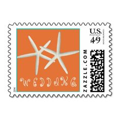 Coral and Mint Starfish Wedding Text Postage