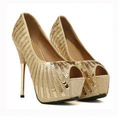 Charming Women Peep Toe Thin Heel Platform Paillettes Pure   Color Pumps
