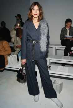Alexa Chung suit and Converses