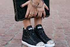 Must haves for fall: High top sneakers, studded purse and our g bangles and alphabet stack rings Shoe Boots, Shoes Heels, Pumps, Shoes Sneakers, Miu Miu Sneaker, Pumped Up Kicks, Studded Purse, Miu Miu Shoes, Black Flats