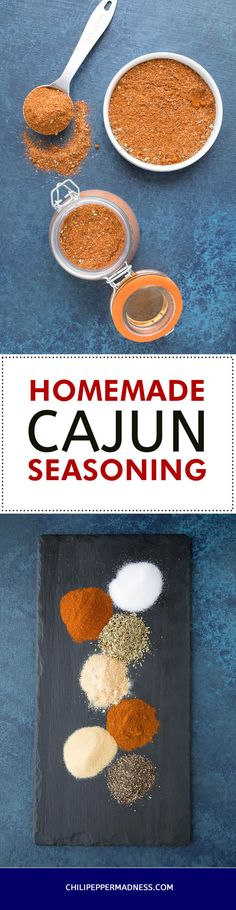 Use this recipe method to make your own Cajun seasoning blend at home from scratch, with your own preferred ingredients. Includes an ingredient chart that you can refer to as well as an extra spicy version that I use. Cajun Seasoning Recipe, Seasoning Mixes, Spicy Chicken Recipes, Cajun Recipes, Cajun Food, Homemade Spices, Homemade Seasonings, Homemade Food, Cooking Measurements