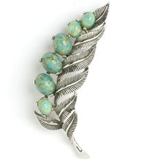 Boucher Vintage Jewelry - Turquoise & Silver Leaf Brooch