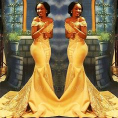 2018 African Prom Dresses With Appliqued Sequins Off Shoulder Sweep Train Yellow Evening Party Gowns Plus Size Women Wear African Prom Dresses, African Wedding Dress, African Fashion Dresses, African Dress, Sequin Evening Gowns, Evening Party Gowns, Chiffon Evening Dresses, Fancy Wedding Dresses, Lace Mermaid Wedding Dress