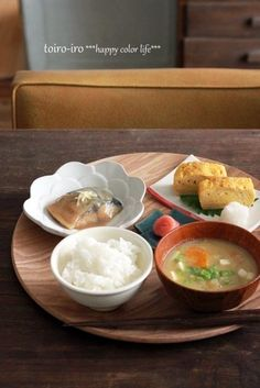 Japanese Breakfast (Simmered Mackerel with Miso Sauce, Dashimaki Tamago Omelet with Grated Daikon Radish, Taraco Cod Roe, Rice and Miso Soup)
