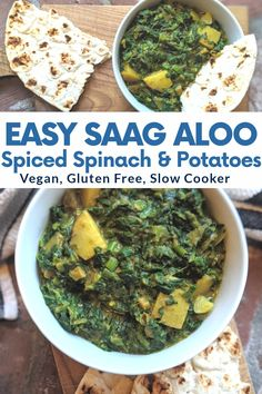 Vegan Indian Recipes, Indian Slow Cooker Recipes, Vegetarian Recipes, Vegetarian Curry, Healthy Recipes, Vegan Slow Cooker, Spinach Recipes, Aloo Saag Recipe, One Pot Meals