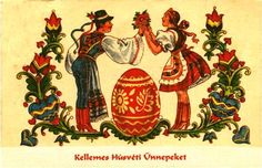 A vintage Hungarian Easter card featuring a decorated egg.