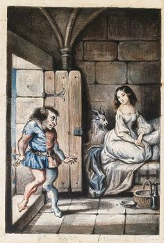 Esmeralda and Quasimodo, watercolor by Theophile Gautier, illustration from the novel Notre Dame de Paris, by Victor Hugo (1802–1885). Paris, Hôtel Carnavalet (Art Museum)