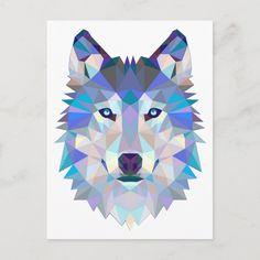 Polygon wolf - geometric wolf - abstract wolf Postcard