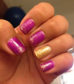 Pretty Purple with gold accent nail
