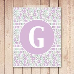 Nursery Initial Print, 8x10 Lavender Nursery, PRINTABLE, Purple and Mint Green, Instant Download, Digital Art, Letter Print, Initial on Etsy, $5.00