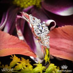 Vatche Round and Pear 3 Stone Engagement Ring.