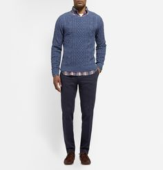 I like the cable knit and loud patterned shirt together.