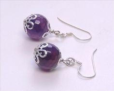 Wundervolle Unikat Achat violett Ohrhänger, Handarbeit,  925 Silber