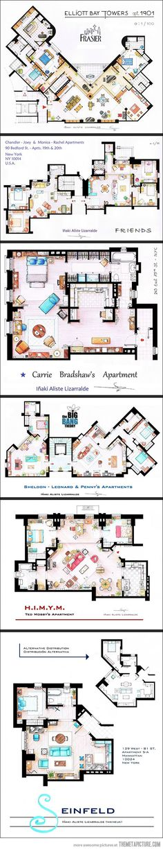 Floor plans from TV series: Seinfeld, HIMYM, The Big Bang Theory, F.R.I.E.N.D.S. Sex and the City, Frasier. Love this!