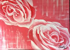 Pink roses. Acrylic on canvas 300 x 400 by Michelle Meyer. Instagram @mlovestodaydream