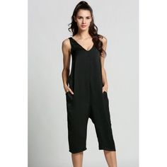 Women V-Neck Sleeveless Backless Casual Solid Slim Calf Jumpsuit