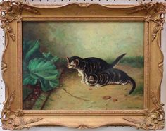 Cats - Original Oil Painting by Henry Carr from seasideartgallery on Ruby Lane