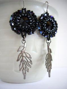 Jet black rivoli earrings Firepolished faceted by MisakoBeads