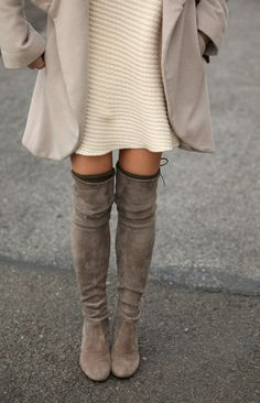 mushroom colored over the knee boots. Fall boots trends.: