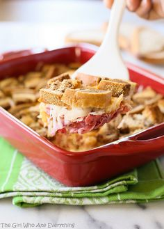 Reuben Casserole - your favorite Reuben sandwich toppings made easy in a casserole. {The Girl Who Ate Everything}