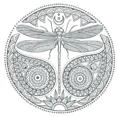 Dragonfly mandala coloring pages on fly coloring page dragonfly Mandalas Painting, Mandalas Drawing, Mandala Coloring Pages, Animal Coloring Pages, Coloring Book Pages, Zentangles, Dragonfly Drawing, Dragonfly Tattoo Design, Dragonfly Art