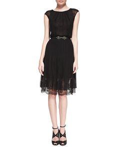 Cap-Sleeve Lace-Bottom Dress by Oscar de la Renta at Neiman Marcus.